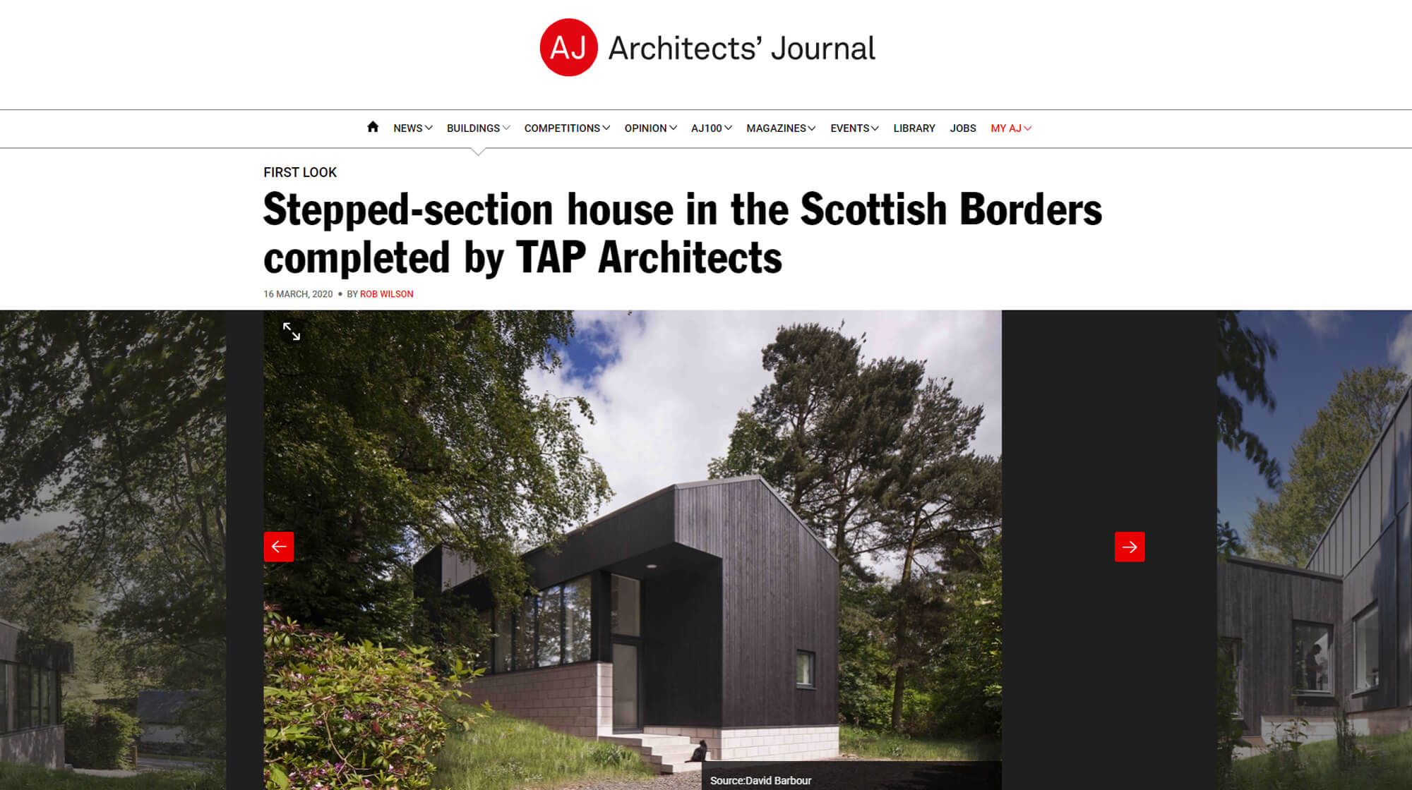 The Architects' Journal feature Woodland House,
