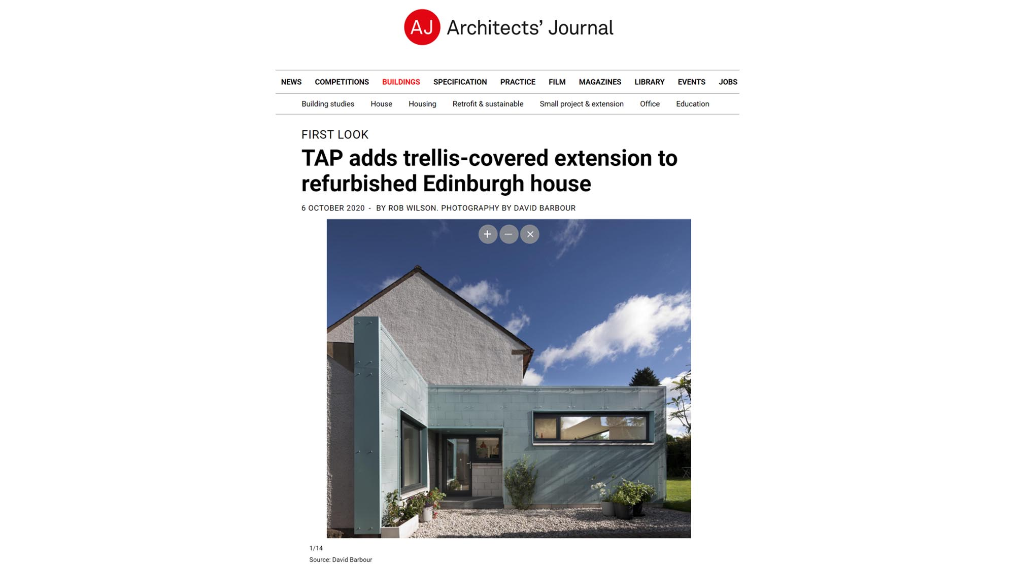 The Architects' Journal feature Trellis House,